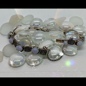 Blue Lace Agate & Marcasite 925 Sterling Bracelet